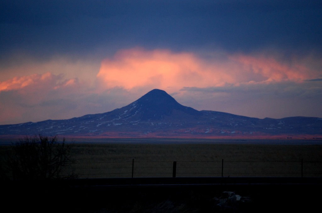 Clouds at sunset over a mountain in Northern Montana