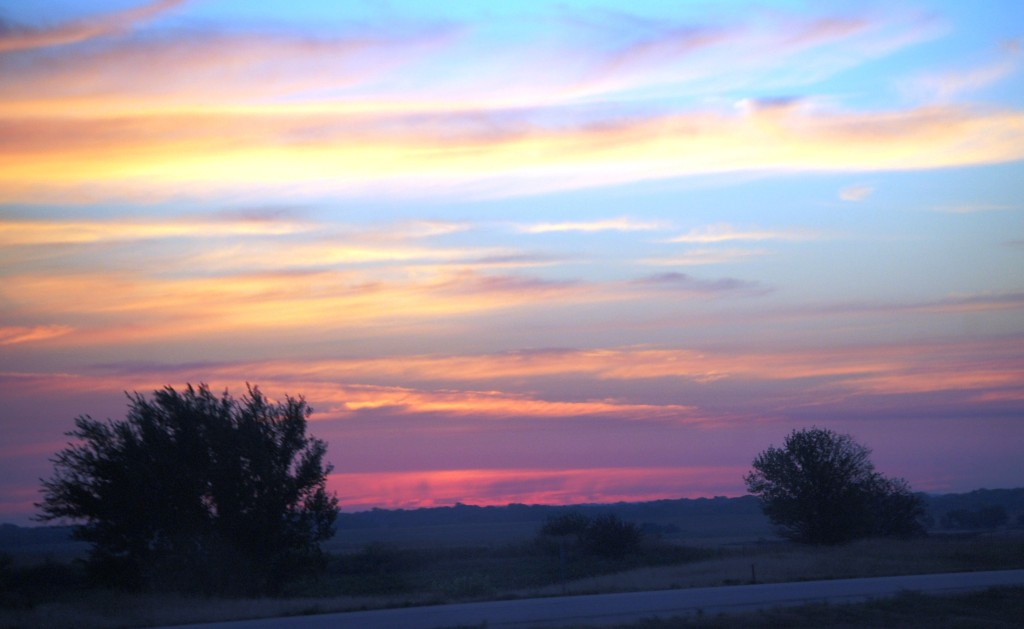 Watercolor Skies at sunrise over Kansas