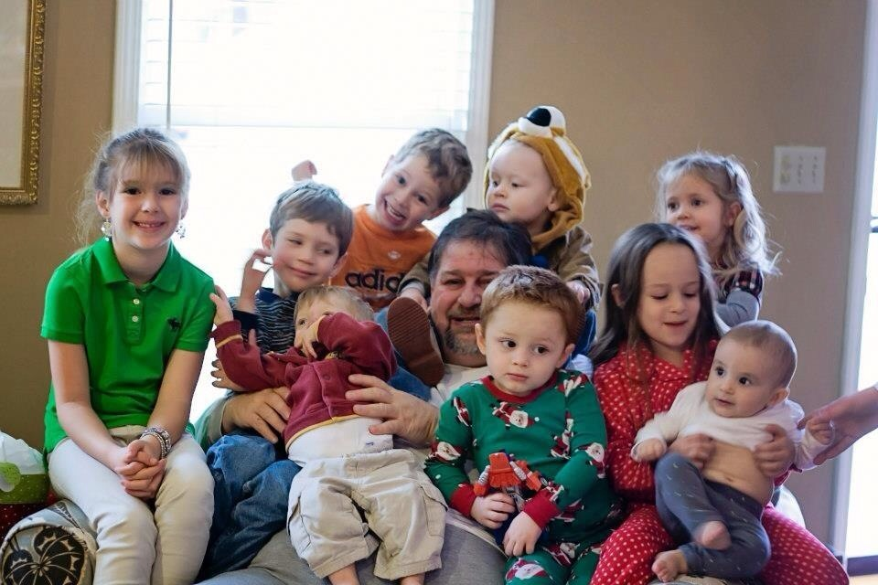 Hanging with my grandchildren in 2012