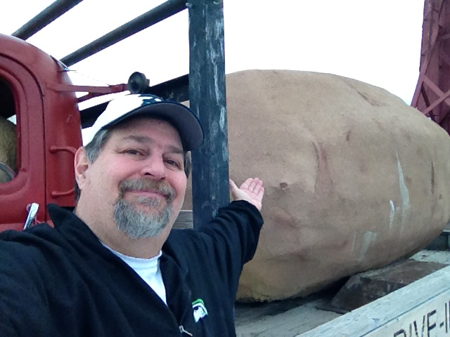 Selfie with a HUGE potato at a drive-in theater in Driggs, Idaho