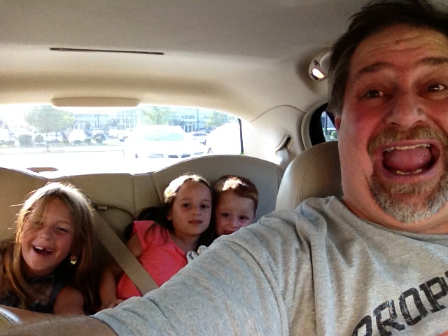 With some of the grandkids in the car on the way to a movie