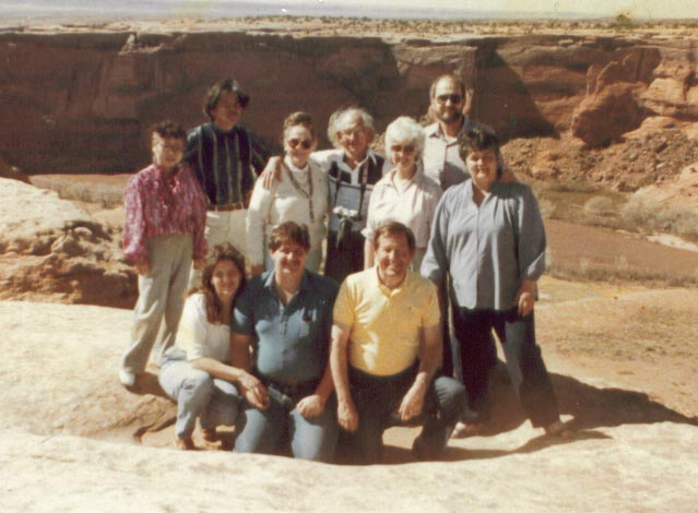 Yukio Yamamoto and wife with some of Julianne's family at the Falls of the Little Colorado river in Northern Arizona in 1985