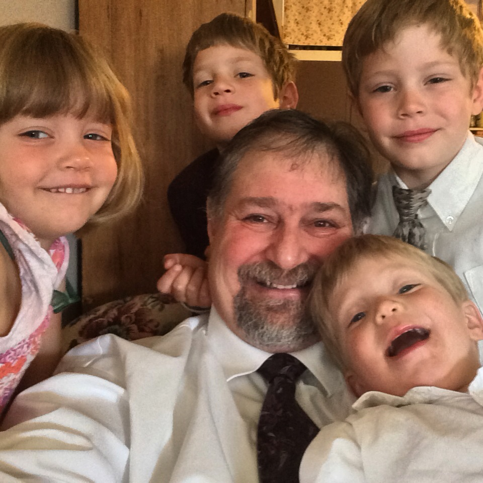 Grampz with Amaree's children.  Fun to see Livvy, Charlie, Kade and Benson