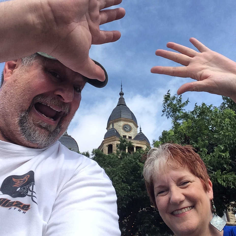 Waving to the world with new friend, Texas author and ghost tour guide Shelly Cumbie Tucker in Denton, TX