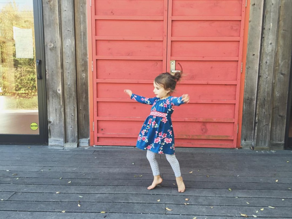A grandchild dancing