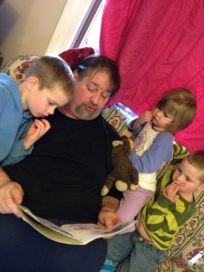Reading to Grandkidz in Montana in 2014