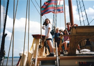 Kids on an ship replia in Jamestown, VA