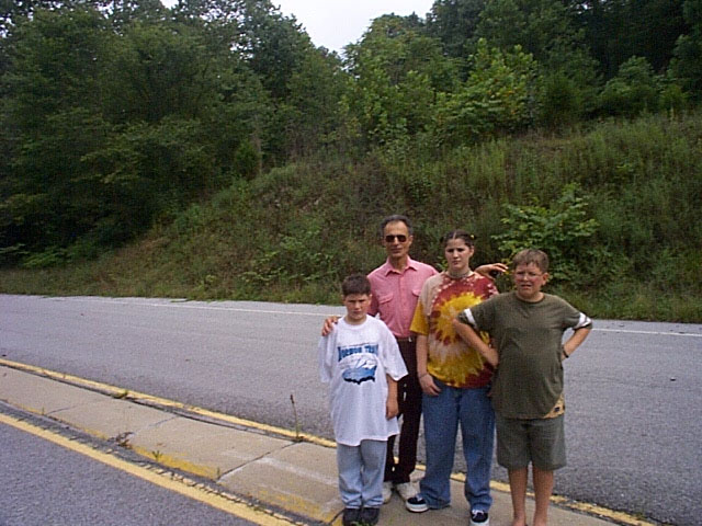 Joe with kids at Cumberland Gap on Kentucky/Tennessee border