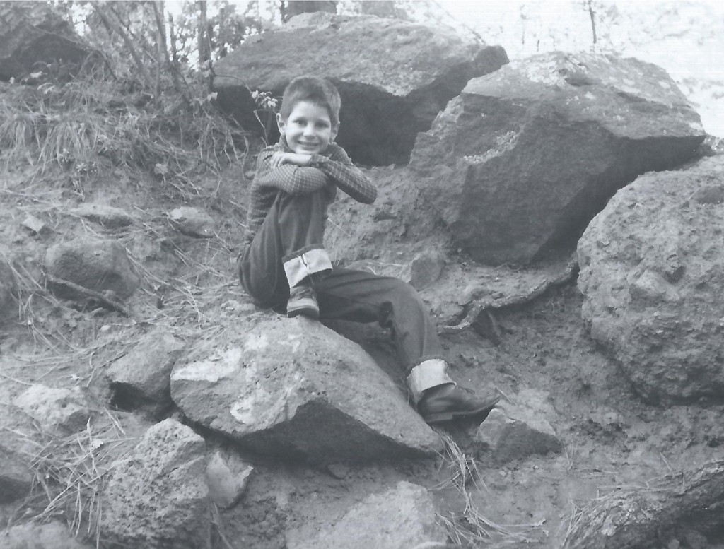 Posing on a rock in the early 1960s