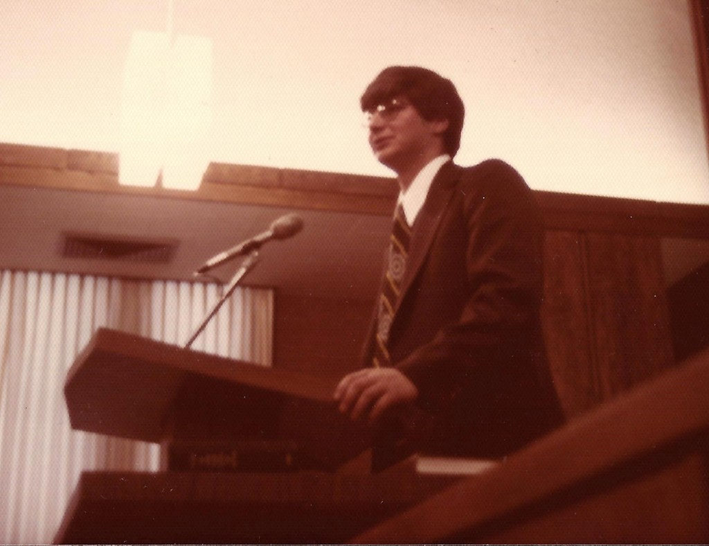 Speaking at my Missionary Farewell in Murray, UT - Feb. 8, 1976