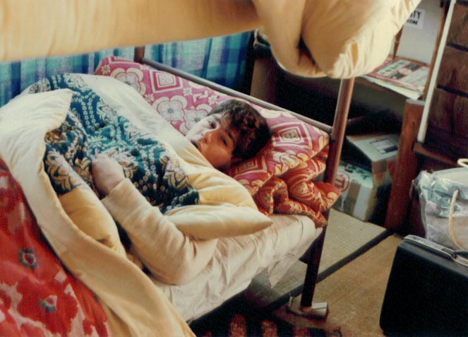 Lazing in bed on a cold morning (we had no heaters - just oil stoves that had to be turned off at night). This was in Fuji City in January 1978